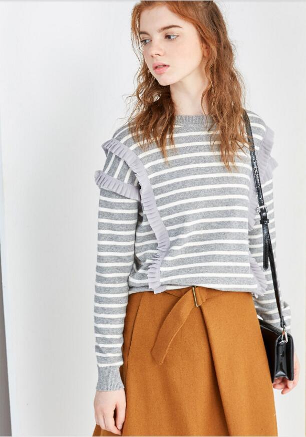 women long sleeve stripe blouse with pleats