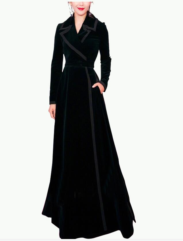 women velvet bodycon long coat