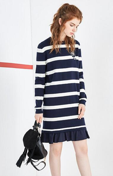 women stripes knit dress with pleats bottoms