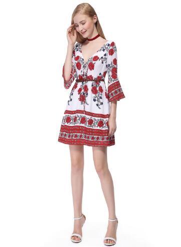 women print bell sleeve dress