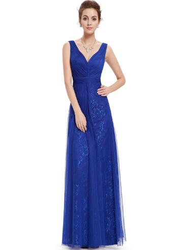 women royal blue v neck maxi dress