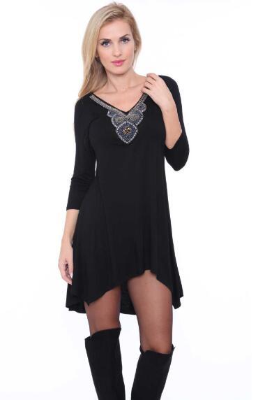 women knit irregular bottom dress