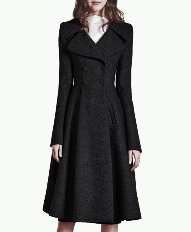 women tweed long coat winter dress coat