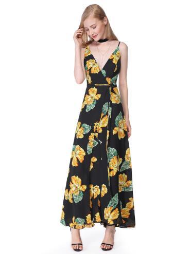 women summer print maxi dress