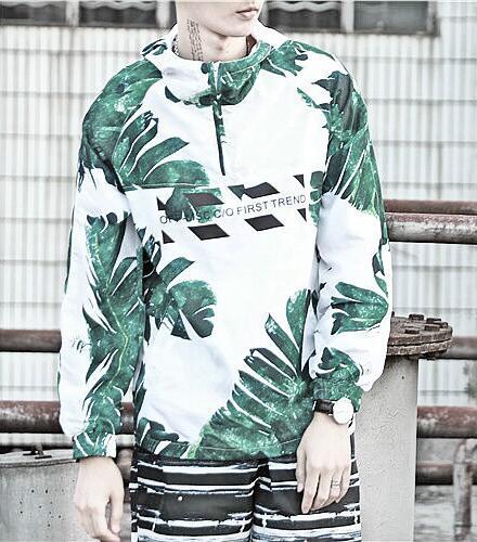 men polyester print hoodie