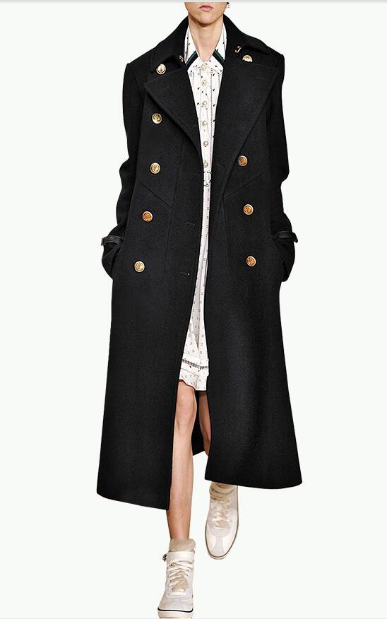 women tweed long coat winter tailor dress