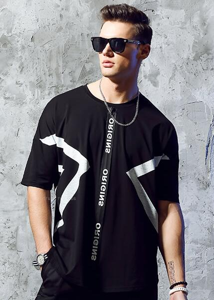 men hit color print t-shirt